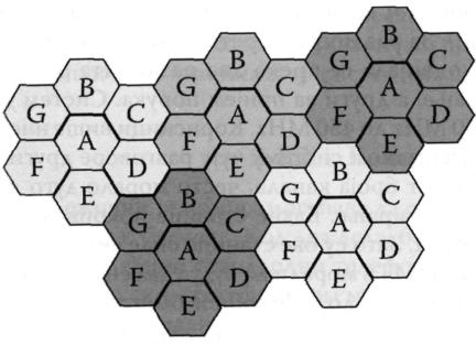 Систем мобилне телефоније од пет група са по седам ћелија. Ћелије означене истим словима користе исти скуп учестаности. Очигледно је да су две ћелије које користе исти скуп учестаности раздвојене бар са две ћелије које користе друге скупове учестаности