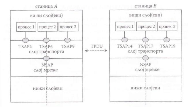 Положај TSAP-ова и NSAP-ова