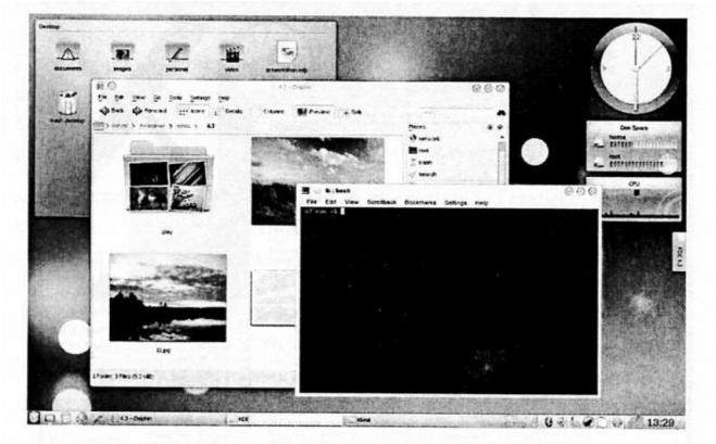 слика 6. Екранско и линијско корисничко окружење у истом систему